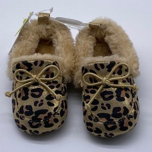 First Steps Leopard Moccasin Slippers Gold NWT